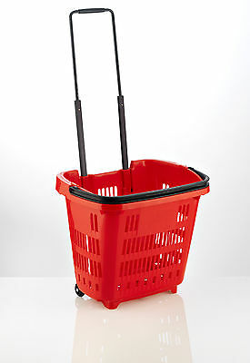 "5 x Plastic Shopping Trolley Basket (34L) Red. Araven ""Shop & Roll"",Top Quality"