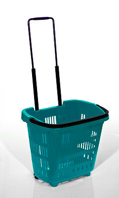 "5 x Plastic Shopping Trolley Basket (34L) Green. Araven ""Shop & Roll""Top Quality"