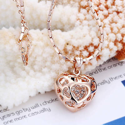 NeW 18K Rose Gold Filled Filigree Heart Pendant Necklace With Crystal