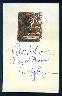 HUGE Woody Hayes Signed Page Ohio State Buckeyes