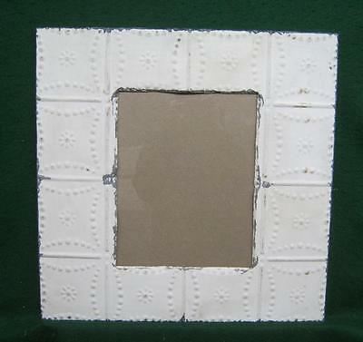 Antique TIN CEILING Metal 11 x 14 White Picture Frame Recycled 2783-14