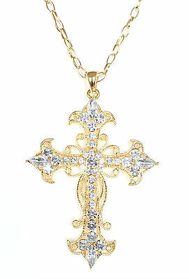 Cubic Zirconia Crystal Cross Pendant Necklace High Quality Unisex Accessories