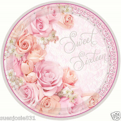 Sweet Sixteen Birthday Lunch Dinner Plates 18ct Sweet 16 Blossom Party Supplies