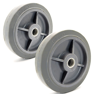 "2x Rubber Wheel 8"" x 2"" Encore Ecoforma Flat Tread Solid Tire Gray Non-Marking"