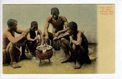 (Lv480-388) Zulu Boy eating Mealie Pap, South Africa c1910 Unused VG-EX