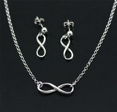 Solid 925 Sterling Silver Infinity Symbol Earrings Pendant Necklace Set + Box