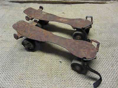Vintage Roller Skates w Wooden Wheels ? > Ball Bearing Old Antique 8540