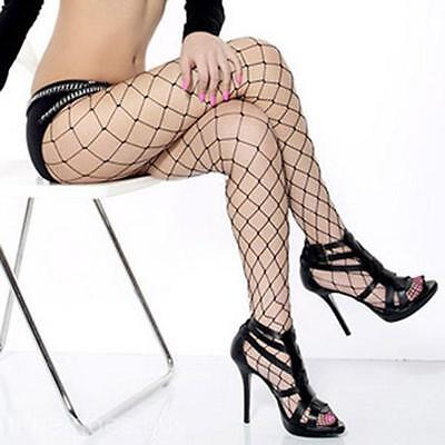 Lady Large Fishnet Lace Breathable Elastic High Top Stockings Tights Pantyhose