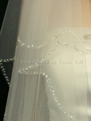 2T Ivory Bridal Fingertip Length Scalloped Beaded Wedding Veil