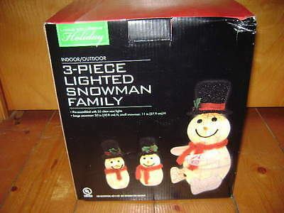 NEW~3-PIECE LIGHTED SNOWMAN FAMILY~CHRISTMAS~INDOOR/OUTDOOR