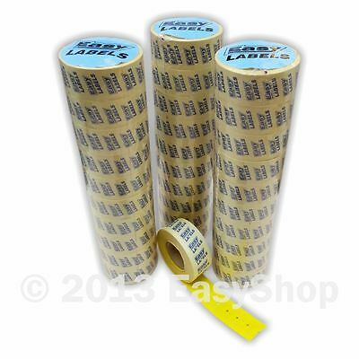 22 X 12mm Punch Hole CT1 Price Marking Gun Labels Yellow with Permanent Adhesive