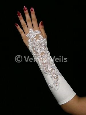 "11"" White Bridal Fingerless Pearls Beaded Wedding Party Gloves Gl213W"