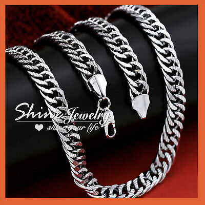 18K White Gold Filled Curb Rings Link Long Chain Mens Womens Solid Necklace Gift