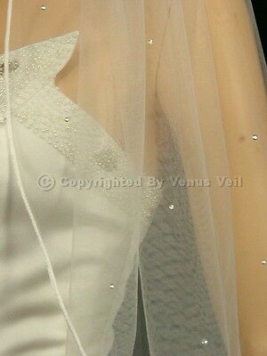 1T Ivory Bridal Fingertip Scattered 30 Rhinestones Rattail Edge Wedding Veil