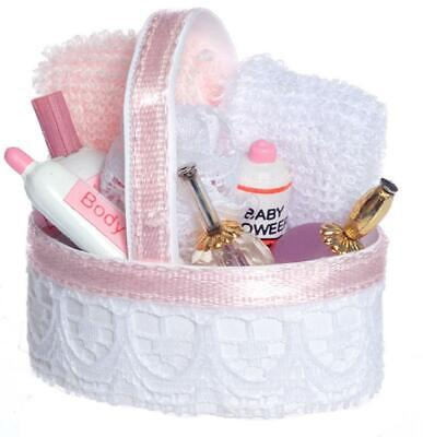 Melody Jane Dolls House Pink Toiletry Cosmetics Basket 1:12 Bathroom Accessory