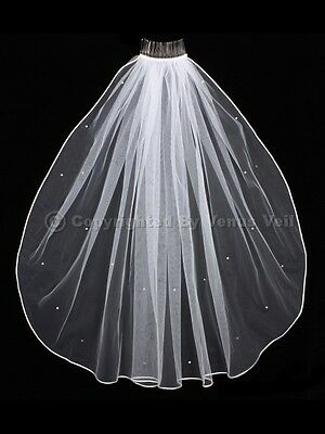 1T White Bridal Shoulder Short Scattered Rhinestones Rattail Edge Wedding Veil