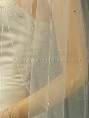 2T Ivory Bridal Cathedral Scattered 110 Rhinestones Pencil Edge Wedding Veil