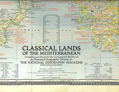 Vtg 1949 Nat Geographic Magazine Map of Classical Lands and the Mediterranean
