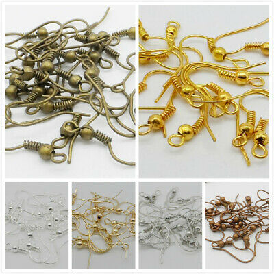 1000Pcs Copper /Bronze/Silver/Golden Plated Coil Wire Metal Earring Hooks 19mm