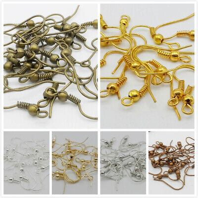 100Pcs Copper /Bronze/Silver/Golden Plated Coil Wire Metal Earring Hooks 19mm