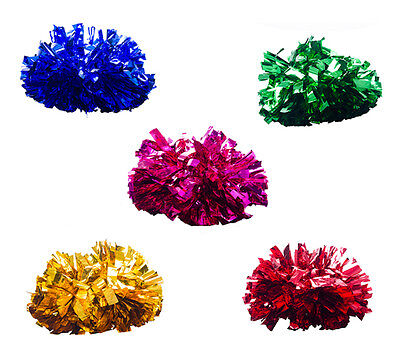 1 Pair Metallic Cheerleader Pom Poms Cheerleading Dance School Party Favors