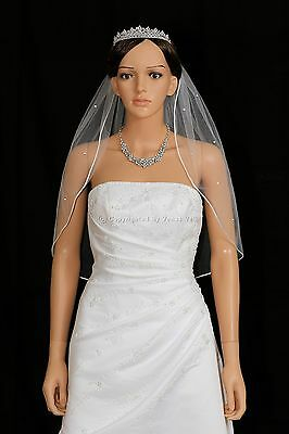 1T White Bridal Elbow Length Scattered Rhinestones Rattail Edge Wedding Veil