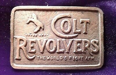 Vintage Colt Revolvers Brass Belt Buckle With Trademark Horse