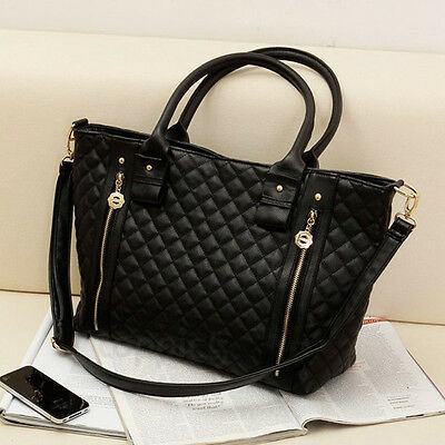 Black Retro Women Office Lady PU Quilted Shoulder Tote Bag Hobo Handbag Fashion