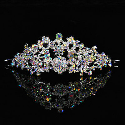 Colorful Diamond Crystal Rhinestone Crown Wedding Prom Party Pageant Hair Tiara