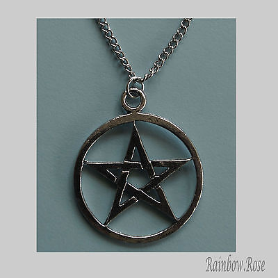 Chain Necklace #115 Pewter PENTAGRAM (25mm wide) PENTACLE wicca