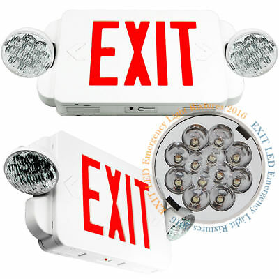 LED Exit Sign & Emergency Light – High Output - RED Compact Combo UL 924 US