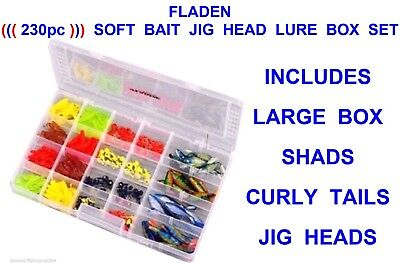 230pc SOFT BAIT TACKLE BOX LURE SET JIG HEADS GRUB MINNOW SHADS CURLY TAIL WORMS