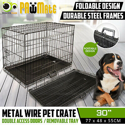 "30"" Dog Cat Pet Puppy Wire Cage Kennel Crate Collapsible 2 Doors Metal with Tray"