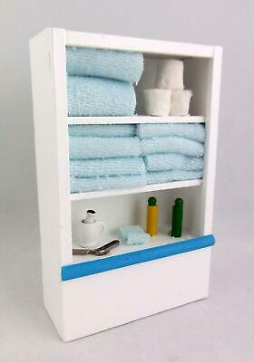 Dolls House Miniature Furniture White Bathroom Shelf Unit & Accessories Blue