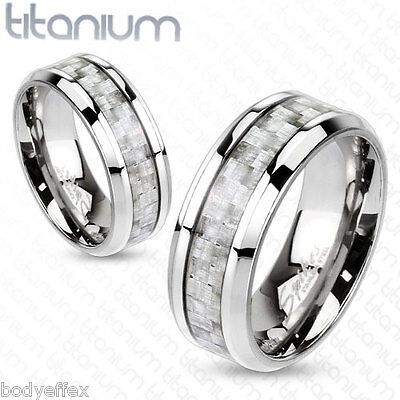 Bold Mens Solid Titanium Silver Carbon Fiber Center Inlay Band Ring
