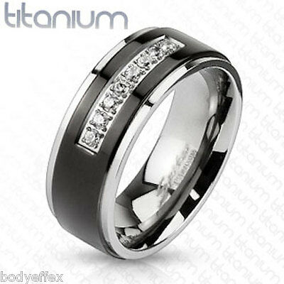 GREAT MENS SOLID TITANIUM SILVER BLACK IP WEDDING BAND RING CENTER CLEAR CZ 8MM