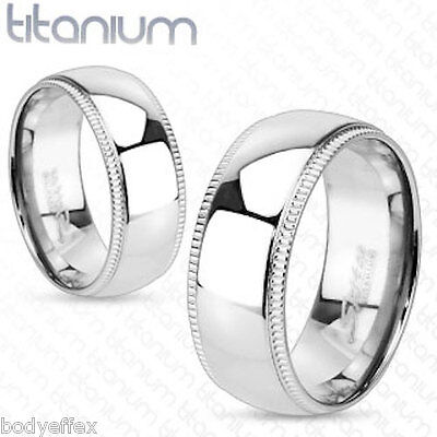 HOT MENS SOLID TITANIUM SILVER WEDDING BAND RING GROOVED EDGE DOME CENTER 8MM