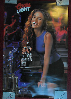 Sexy Girl Beer Poster Coors Light ~ Pretty Bartender in a Purple Top