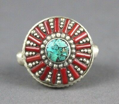 Nepalese Silver Round Ring with Carnelian Beads & Lapis Size 9.5 USA SELLER