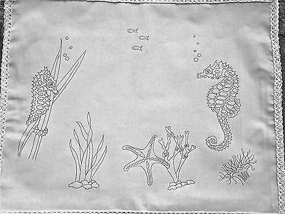 Ready to embroider Tray Cloth Seahorse Design 100% cotton with Lace edge CSOO78