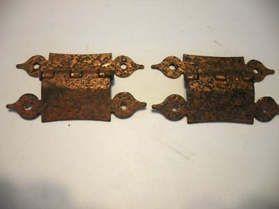 "Vtg small Hammered Copper cabinet door HINGES 3/8"" Offset H Style Hearts Ends"