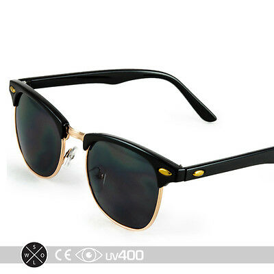 Half Frame Vintage Clubmaster Style Classic Sunglasses Black Gold RX S063