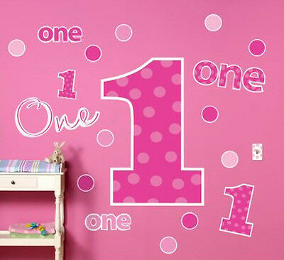 PINK ONES Wall Stickers MURAL Baby Girls First Birthday Decor 20 Decals