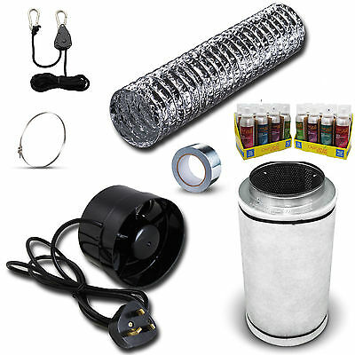 "5"" In Line Fan, Carbon Filter & Duct Kit - Hydroponic Grow Room Tent Ventilation"