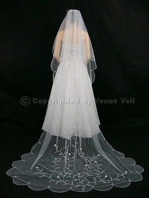 2T White Bridal Cathedral Length Scalloped Motifs Wedding Veil