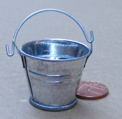 1:12 Scale Large Galvanized Style Metal Bucket Pail Tumdee Dolls House Garden