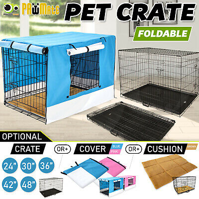 "24"" 30"" 36"" 42"" 48"" Collapsible 2 Doors Metal Wire Dog Crate Cage Tray Pet Puppy"