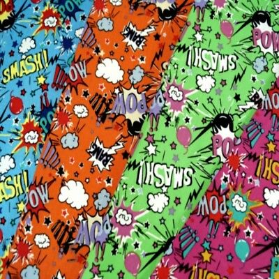 100% Cotton Fabric Super Hero Smash Bang Pow Sound Effects