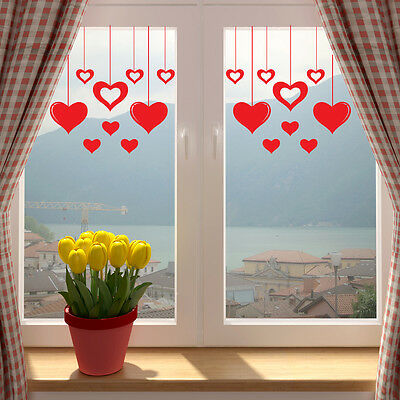 Valentines Love Hearts Shop Window Wall Sticker V2 Decal Transfer Decorations