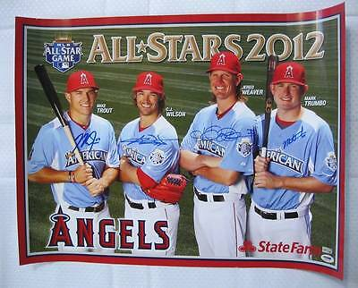 Mike Trout CJ WILSON Jered Weaver MARK TRUMBO Signed Angels Poster Auto PSA/DNA